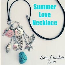 Summer Bohemian Gypsy Hippie Necklace Turquoise Shell Peace Angel Wing Charms