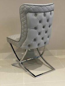 Kensington Grey Dining Chair Velvet Brushed Button Back Chrome Crossed Legs