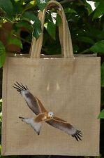 Red Kite bird of prey Jute Bag hand-painted eco shopping