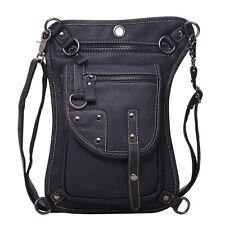 Men First Layer Cowhide Cross Body Sling Chest Shoulder Messenger Bag Waist Pack