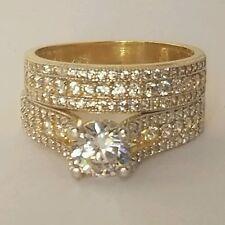 2 carats round Cut 14K Yellow Gold Engagement  Wedding Band  Ring Set  S 6.5