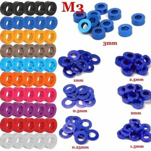50PCS M3 CNC Round Aluminum Alloy Flat Spacer Washer Screw Gasket Ring For RC