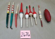 🎣 Lot of 9 Vintage Pencil Wood Plastic Floats Bobbers Cabin Decor