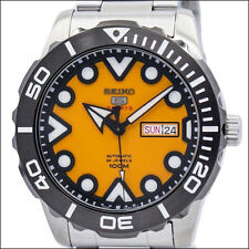 Seiko Orange 44mm 5 Sports Automatic Watch with Stainless Steel Bracelet #SRPA05