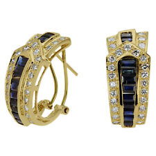 Diamond Earrings Blue Sapphire Earrings Hoop Earring 14k Yellow Gold Omega Backs
