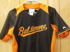 BALTIMORE ORIOLES MAJESTIC BUTTON UP!! YOUTH LARGE. NEW! ONLY ONE!!