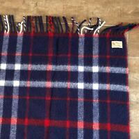 """Vintage Horner 74 x 54"""" virgin wool blue red Throw Blanket plaid wrap scarf"""