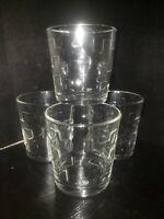 1960's Style Set of 4  mid century style Texture Rocks Glasses Barware NIB
