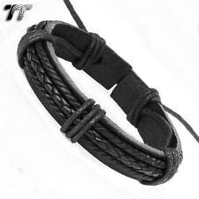 TT Black Leather Bracelet Wristband (LB20)