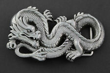 SILVER GREY CHINESE DRAGON BELT BUCKLE METAL CALENDAR TRADITIONAL