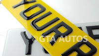 Pair Road Legal Front & Rear 3D Gel Raised Domed Gloss Black Car Number Plates