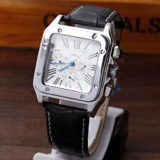 JARAGAR Classic Mens Automatic Mechanical Wristwatch Leather Black Waterproof UK