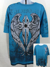 Affliction Premium Throwdown T Shirt Mens 3XL Blue Silver Cross Angel Wings
