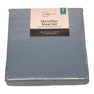 Mainstays TWIN Microfiber Sheet Set Blue Jay Flat Fitted and Pillowcase