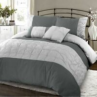 Pintuck Duvet Set Embellished Quilt Cover Single Double Super King Size Bedding