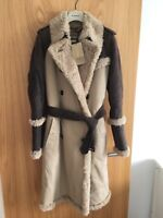 NEW BURBERRY RUNWAY SHEEPSKIN SHEARLING TRENCH COAT LEATHER UK6 US4 IT36 JACKET
