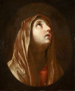 17th CENTURY LARGE FRENCH OLD MASTER OIL ON CANVAS - THE SORROW OF THE VIRGIN