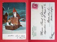 AK WEIHNACHTEN Schweden 1905 Weihnachtsmann mit Kind im Korb ( 21026
