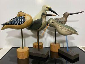 VTG 5pc Carved Wood Painted Bird Model Decoy Folk Art Statue Sculpture Glass Eye