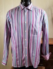 Bugatchi Uomo Men's Flip Cuffs Fuchsia Striped Dress Cotton Shirt Sz XL