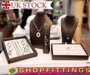 GOLD PU Jewellery Bust Necklace Bracelet Chain Display Stand