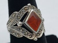 Solid STERLING SILVER .925 Womens Amber Marcasite Ring