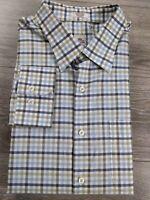 Peter Millar Men's Button Up Dress Shirt Green Blue White Check Size XL