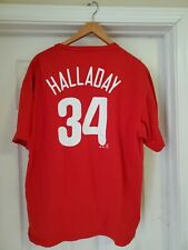 MAJESTIC MLB PHILADELPHIA PHILLIES #34 ROY HALLADAY HOF T SHIRT JERSEY XL