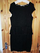women's black lace peplum dress size 16