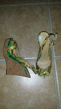 NINE WEST DESIGNER SNAKESKIN WEDGE HEELED SANDALS US 7W UK 5 EUR 37.5 NEW UNWORN