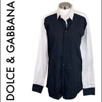 "DOLCE & GABBANA Men's Size 16-1/2"" Black White Long Sleeve Button Down"