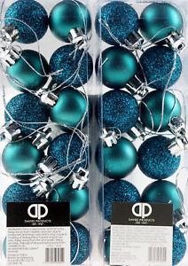 Mini Christmas Tree Baubles Glitter Decorations - Teal / Ocean Blue (Set of 24)