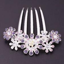 Fashion Silver Purple Crystal Rhinestone Flower Hair Head Comb Tiara Jewelry New