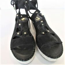 Guess Wedge Black Lace Up Sandals Women's size 9 GGKenny