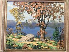 Original Oil Board Landscape Painting Autumn North Beach 1930 signed Bouthillier
