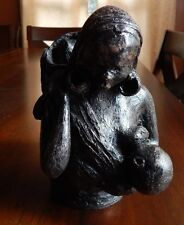 Mother & Nursing Child, Original African Sculpture from 1969. Signed by artist.
