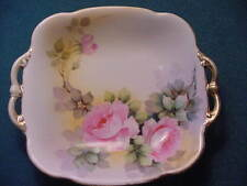 Vintage Hand Painted Nippon 2 Handled 8 1/2 inch square Dish, Roses