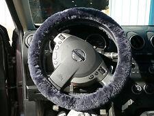 Australian Sheepskin Steering Wheel Cover Covers - Navy Blue