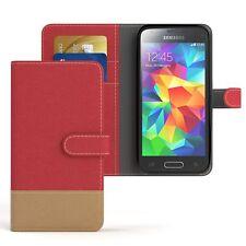 Tasche für Samsung Galaxy S5 Mini Jeans Cover Handy Schutz Hülle Rot
