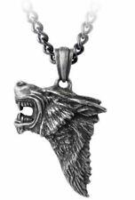 Alchemy England - Dark Wolf - Pewter Wolf Head Pendant & Chain