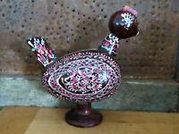 Carved & Painted Chocolate color Easter designs Chicken Hen Easter Egg Folk Art