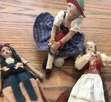Lot Of 3 Ethnic Dolls Vtg. Norwegian Hilda S. Ege, Germany Garmisch, & Mexican