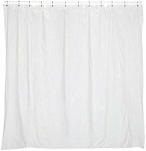 Extra long 5 gauge vinyl shower curtain liner with metal grommets in Bone, si...