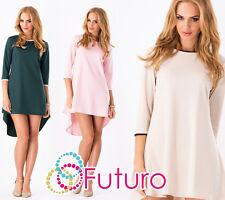 Women's Asymmetric Dress 3/4 Sleeve Tunic Crew Neck Mini Dress Size 8-12 FA329