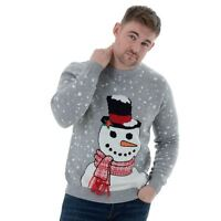 Mens Novelty Funny Knitted Christmas Jumper Warm Xmas Sweater Grey Snowman