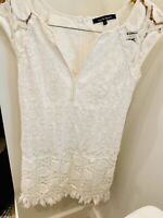 Womens White Lace Sleeveless Nanette Lepore Dress Size2