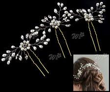 3x Retro Wedding Bridal Pearl Flower Crystal Hair Pins Bridesmaid Clip Side Comb