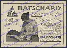 orig. Reklame Puhonny Batschari Tabak Fabrik Zigarettendreherin Baden-Baden 1924