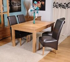 Extending Solid Oak Dining Table And Four Brown Bonded Leather Chairs 120/165CM