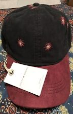 Lucky Brand Womens Suede Maroon & Black Embroidered Baseball Hat Cap NWT OSFA